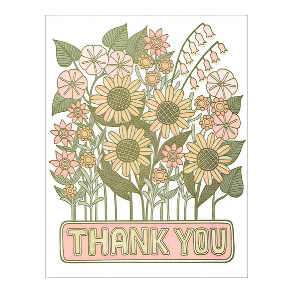 Thank You Flowers Letterpress Card by Lucky Horse