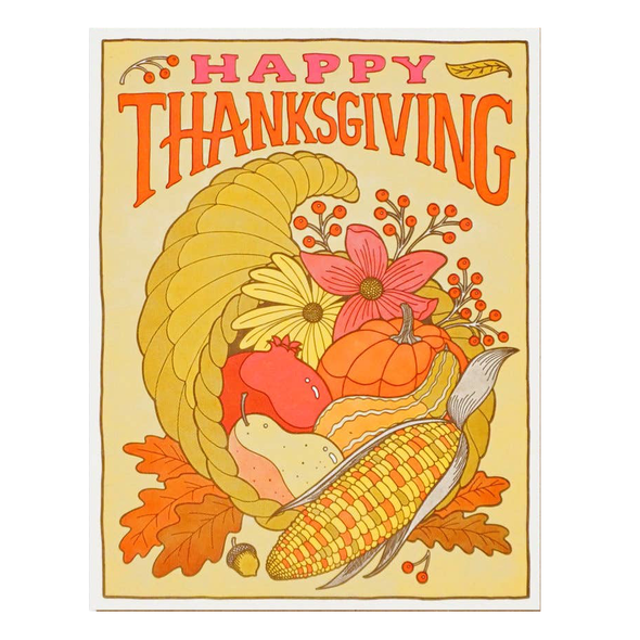Happy Thanksgiving Cornucopia Card by Lucky Horse Press