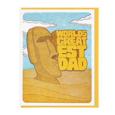 World's Greatest Dad Moai Card by Lucky Horse Press