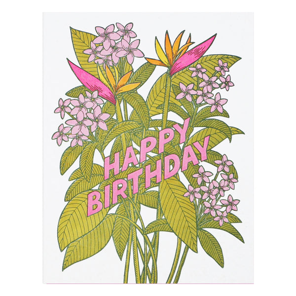 Tropical Flowers Birthday Card by Lucky Horse Press