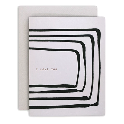 Love You Stripe Grey Card by Moglea