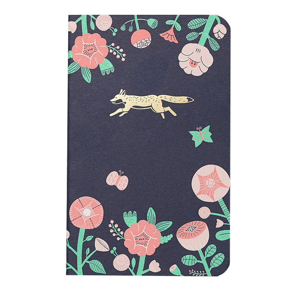 Mossery Flower and Gold Fox Emblem Pocket Notebook
