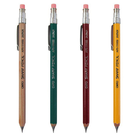 Wooden Mechanical Pencil Short w/ Clip by Ohto