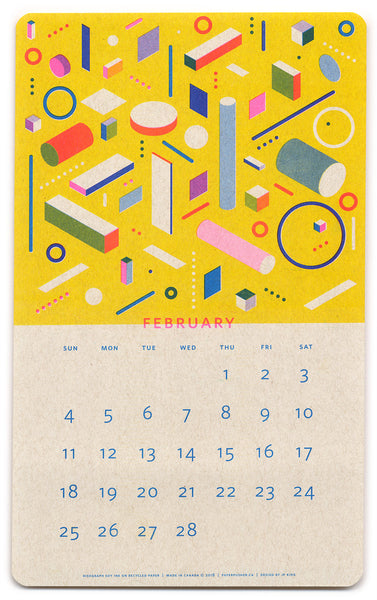 2018 Isometric Risograph Calendar by Paper Pusher