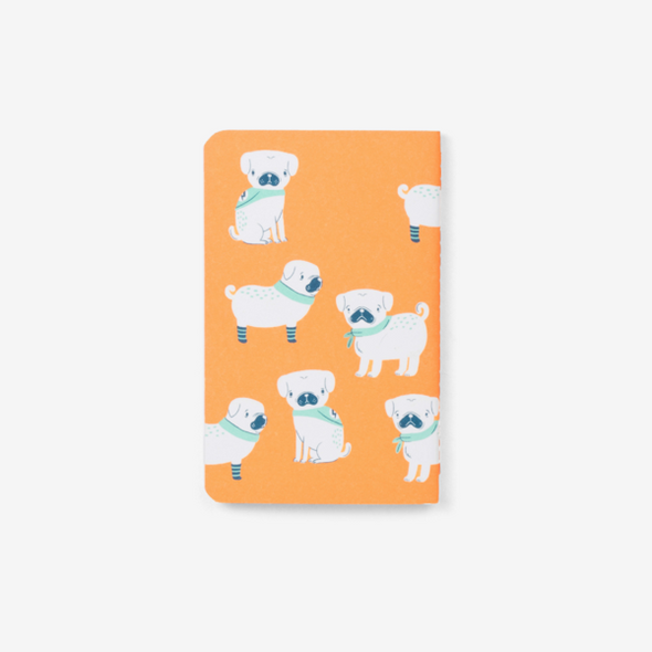 Pugs Orange Pocket Notebook by Mossery