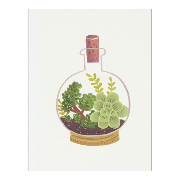 Cork Bottle Terrarium Postcard by Quill & Fox