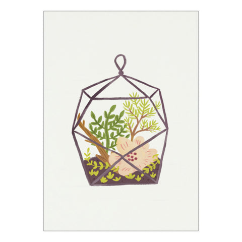 Glass Case Terrarium Postcard by Quill & Fox
