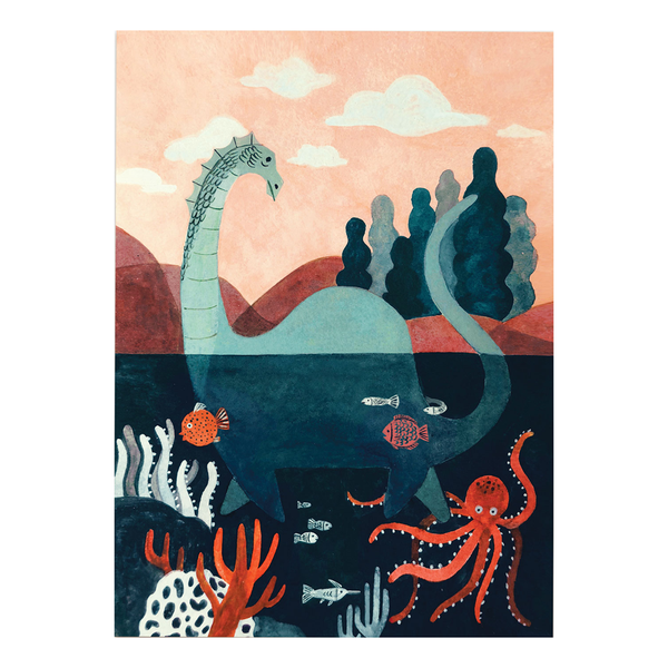 Lochness Monster Postcard by Quill & Fox