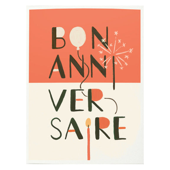 Bon Anniversaire Card by Quill & Fox