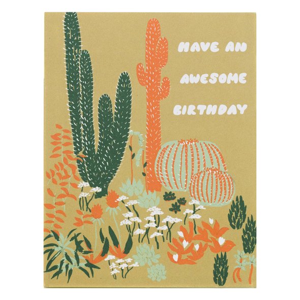 Cacti Vignette Awesome Birthday Card by Small Adventure