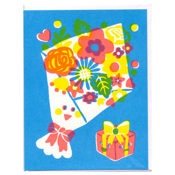 Bouquet and Gift Box Screenprinted Card by Sue Jean Ko