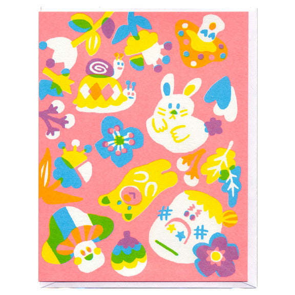 Rabbit and Snail Pink Screenprinted Card by Sue Jean Ko