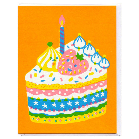 Birthday Cake Screenprinted Card by Sue Jean Ko