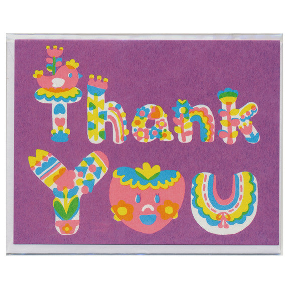 Purple Thank You Screenprinted Card by Sue Jean Ko