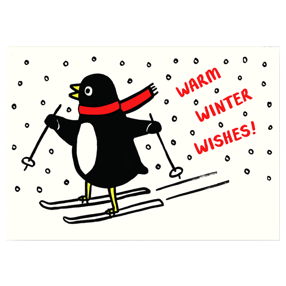 Alice Bowsher Skiing Penguin Winter Wishes Card by Wrap