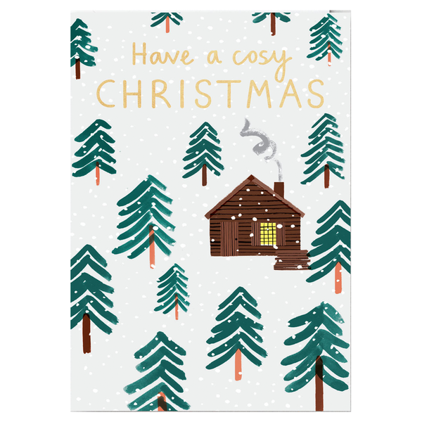Charlotte Trounce Log Cabin Have a Cosy Christmas Card by Wrap