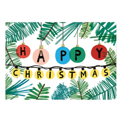 Charlotte Trounce Happy Christmas Baubles Card by Wrap