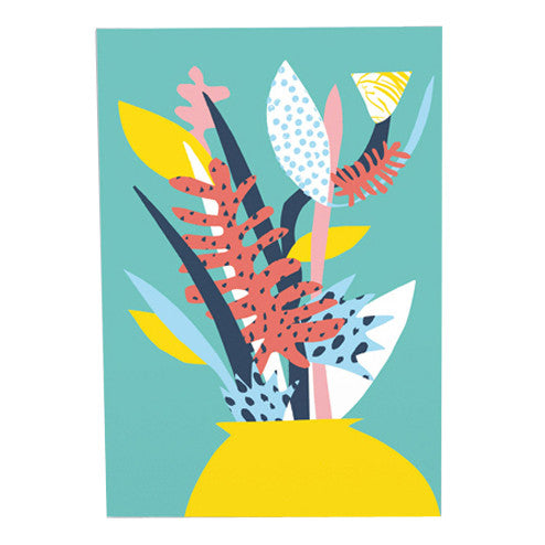 Atelier Bingo Turquoise Plants Card by Wrap
