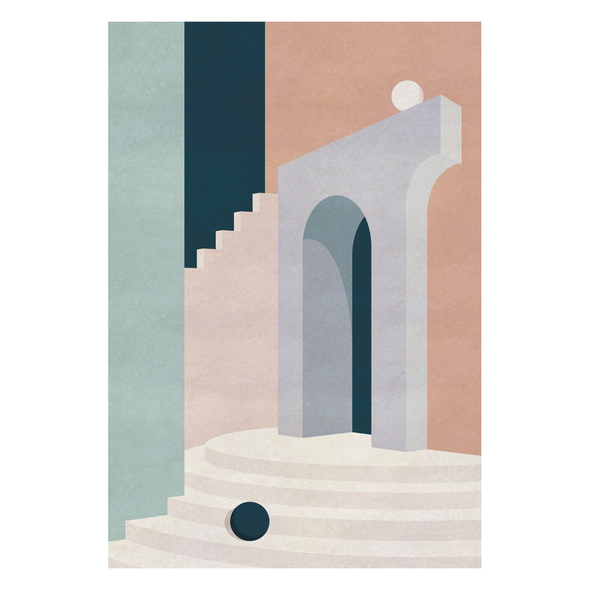 Charlotte Taylor Pastel Doorway & Stairs Card by Wrap