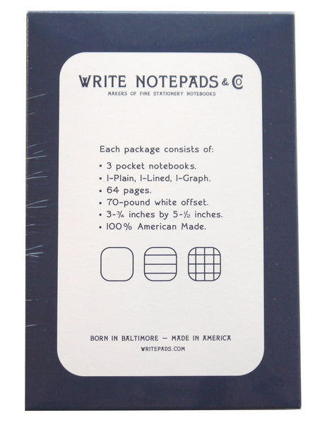 Pocket Notebook Variety 3-pack by Write Notepads & Co