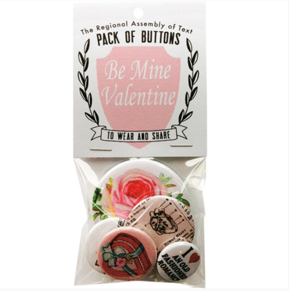 Be Mine Valentine Button Set by Regional Assembly of Text