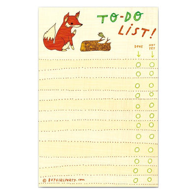 Fox/Bird To-Do Notepad by Boygirlparty