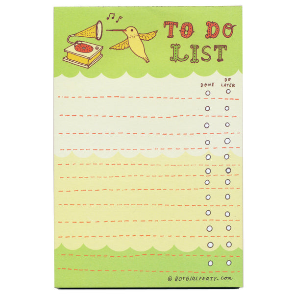 Hummingbird To-Do Notepad by Boygirlparty
