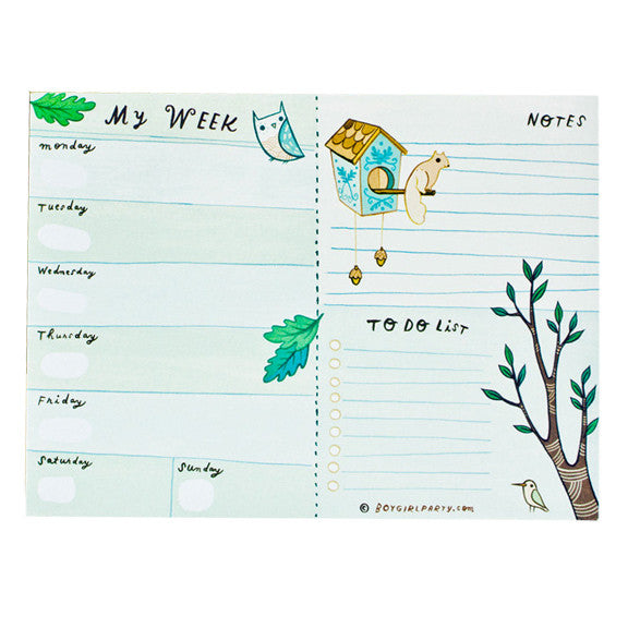 Weekly Planner Notepad by Boygirlparty