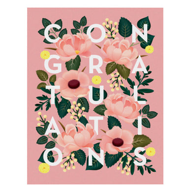 Dusty Pink Floral Congratulations Card by Clap Clap