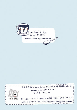 Kate Sutton Teacups Card by Little Otsu
