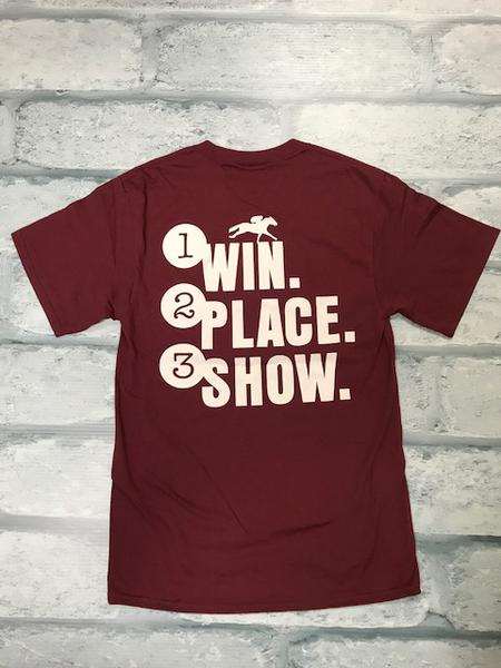 Maroon Win Place Show AQHA Racing Tee