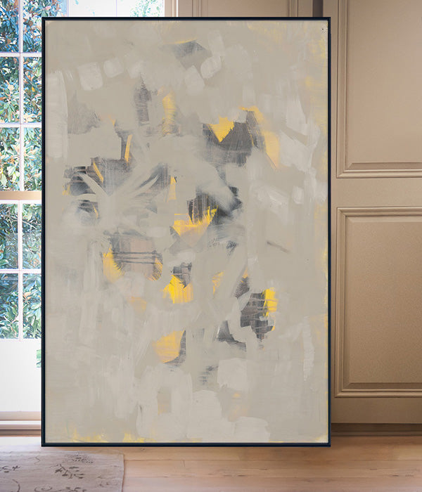 Black and Yellow and Tan on Canvas by Angela Simeone