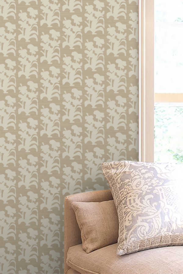 Suzani Floral Large Khaki Wallpaper
