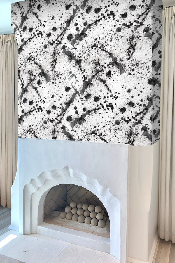 Ink drops black and white wallpaper nashville artist angela simeone art interiors interior design