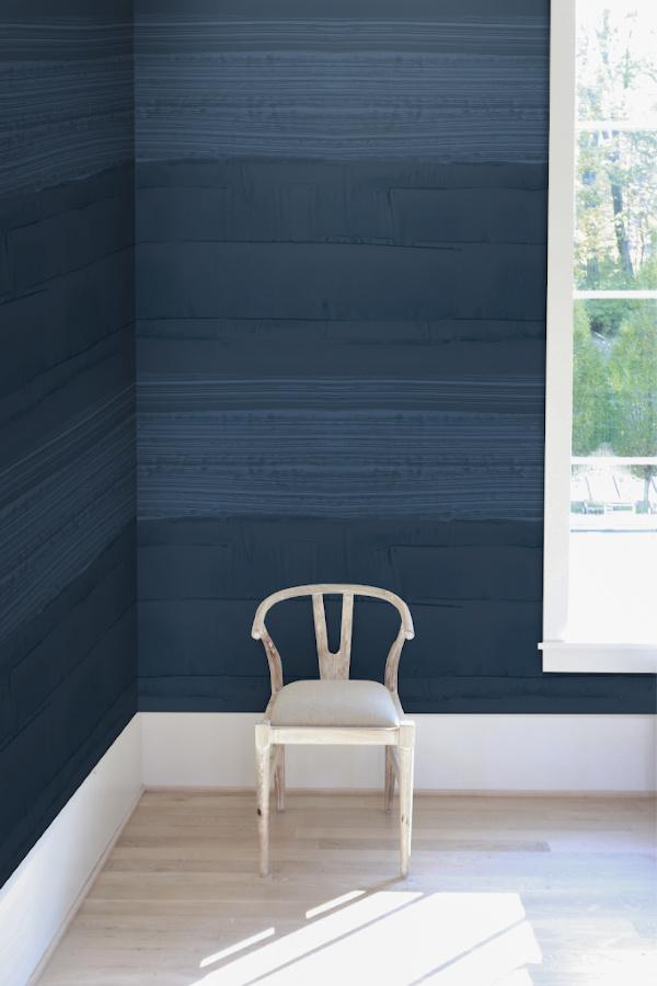 Strie STripe Navy wallpaper Nashville artist Angela Simeone art interiors interior design