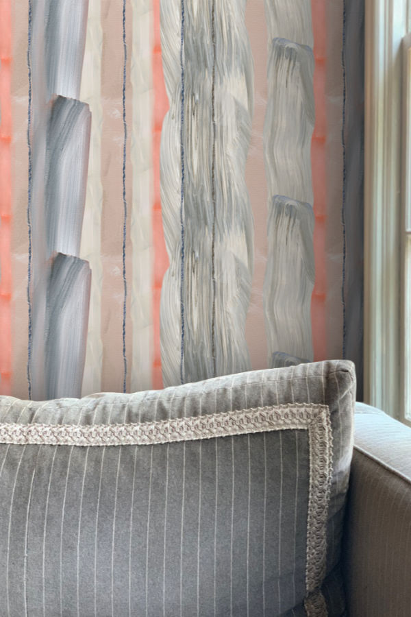 Peach marble wallpaper wallpapers Nashville Artist art Angela Simeone interiors interior design designer