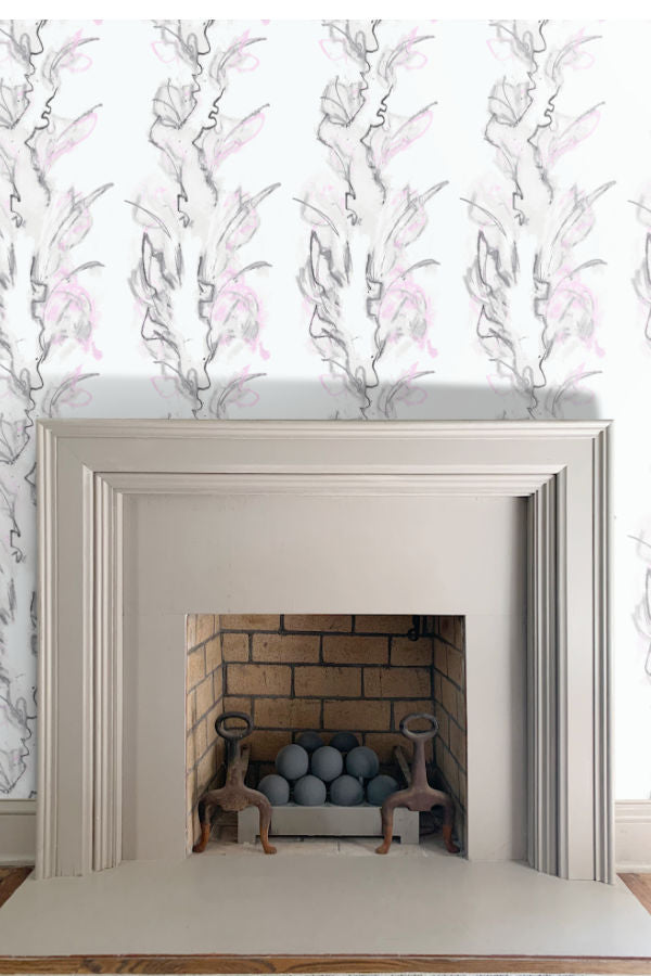 Bouquet wallpaper floral white pink and grey by Nashville artist Angela Simeone