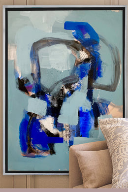 Original abstract art by Nashville artist Angela Simeone painting interiors interior design