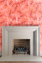 Large Palm Print Tangerine Wallpaper by Nashville artist Angela Simeone artful wallpaper line for distinctive interior design