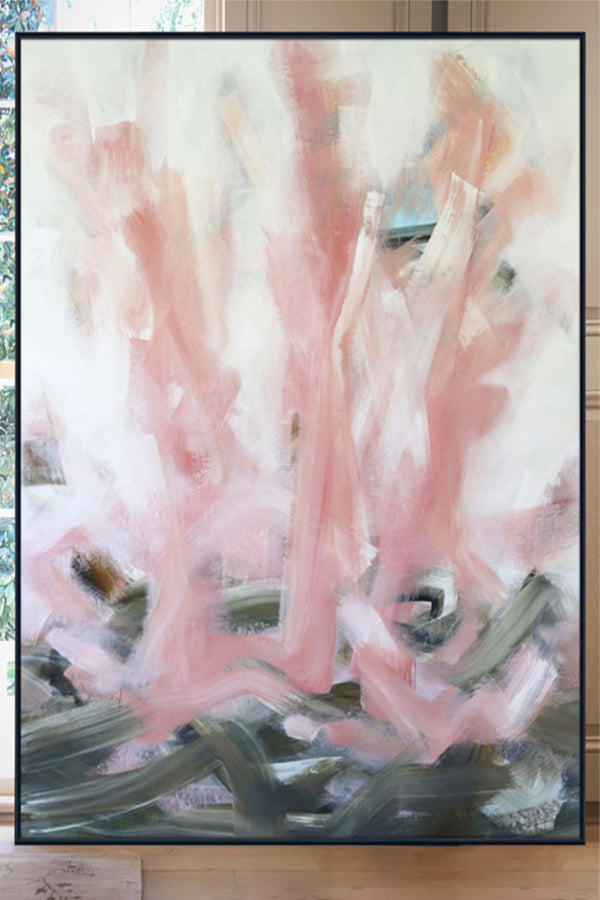 abstract pink painting on canvas nashville artist angela simeone