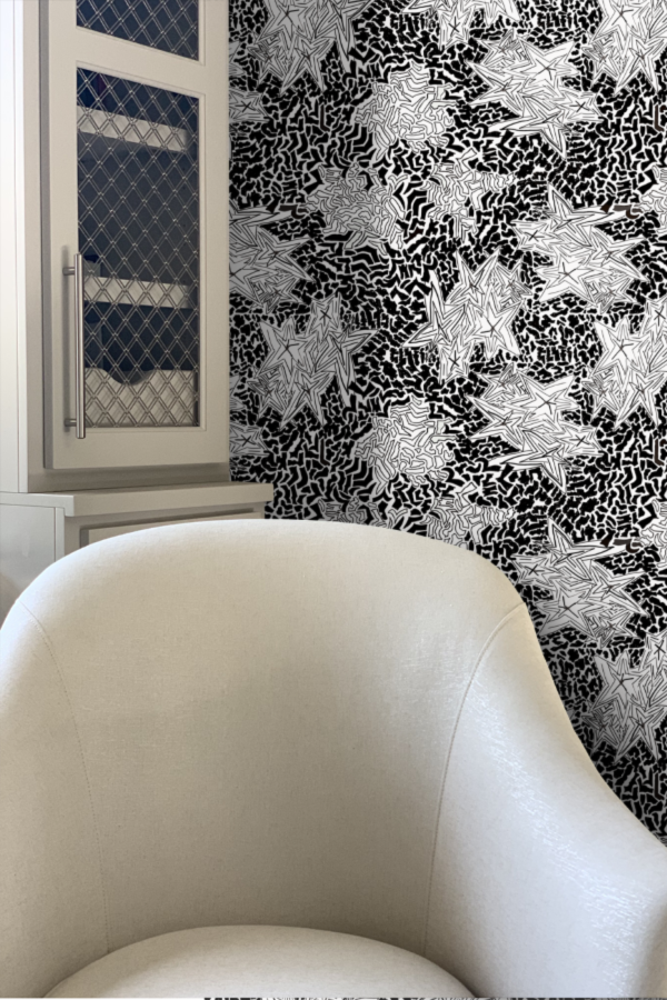 Zebra Star Wallpaper by Nashville artist Angela Simeone Black and White art for interior design