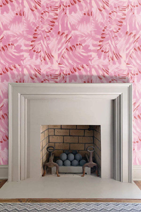 Palm Bubblegum wallpaper by Nashville artist Angela Simeone artful wallpaper for interior designers and homes of design