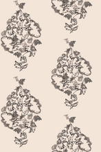 Trellis Peony Neutral Warm wallpaper by Nashville artist Angela Simeone art for interior design
