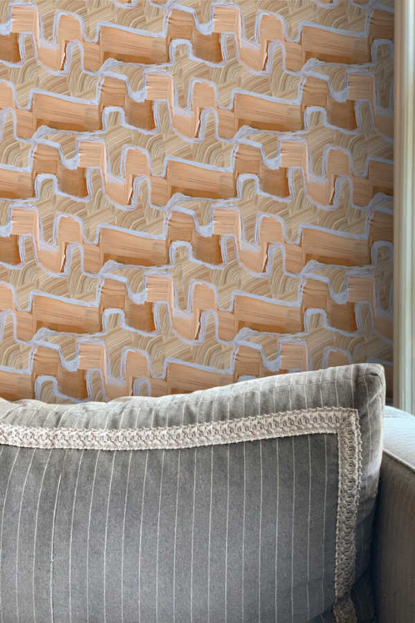 Flame Stitch Medium wallpaper Nashville artist art Angela Simeone interiors interior design interior designer wallpapers