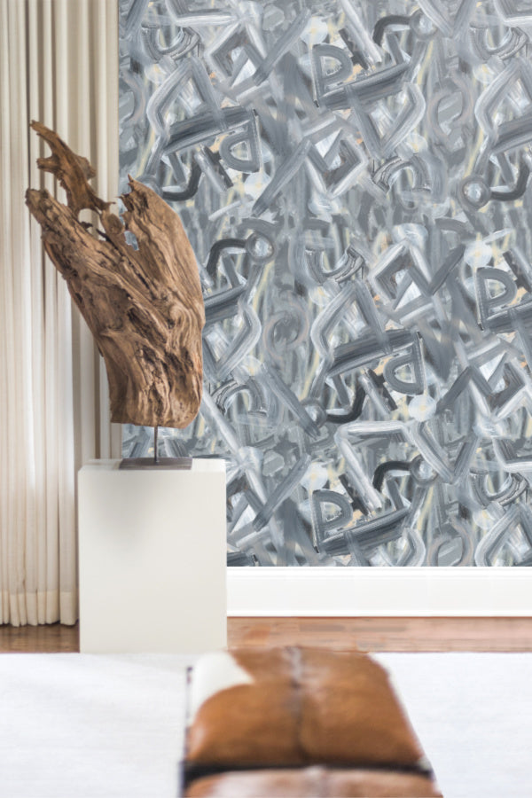 Silk Stroke grey painterly wallpaper by Nashville artist Angela Simeone