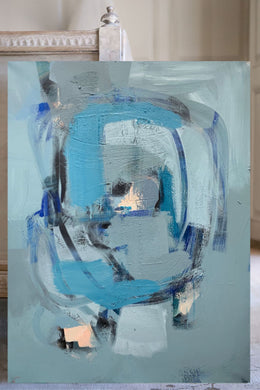 Blue Green painting Nashville ARtist Angela Simeone art abstract interiors design