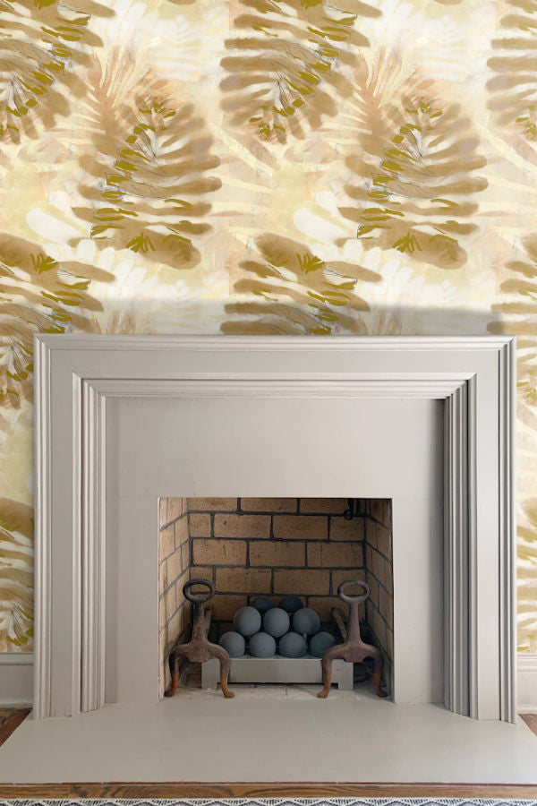 Palm Large Bronze wallpaper by Nashville artist Angela Simeone artful wallpaper for interior designers and homes of design