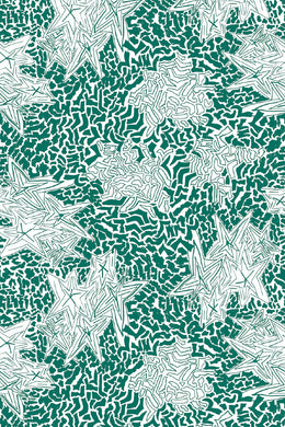 Zebra Star Emerald green wallpaper by Nashville artist Angela Simeone artful wallpaper for interior designers and homes of design