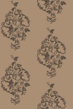 Trellis Peony Bronze Brown wallpaper by Nashville artist Angela Simeone artful wallpaper for interior designers and homes of design