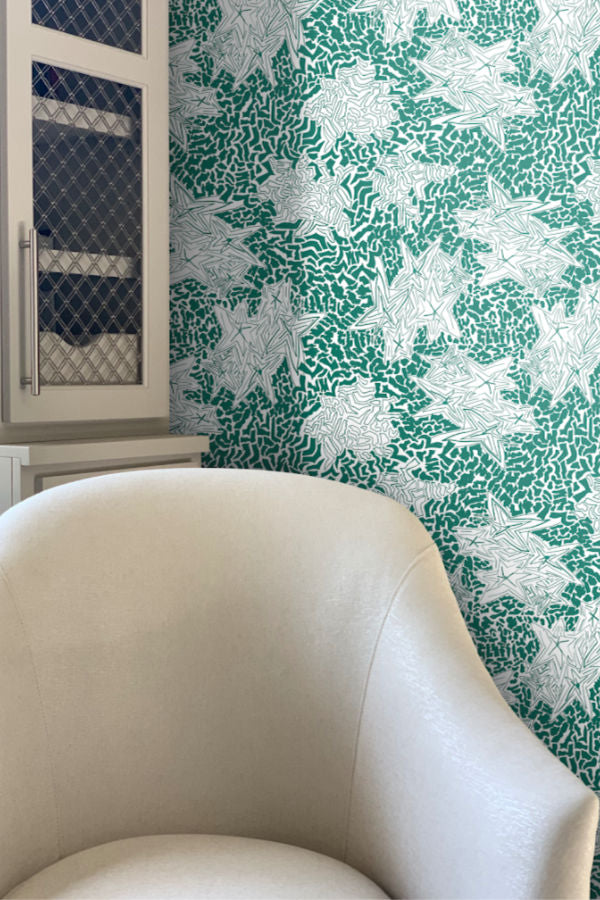 Zebra Emerald Green wallpaper by Nashville artist Angela Simeone artful wallpaper for interior designers and homes of design